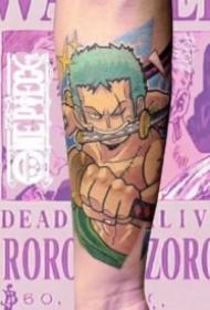 梦幻彩色的一组动漫人物的纹身图片