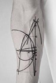 極簡風格的一組創意幾何線條紋身圖案