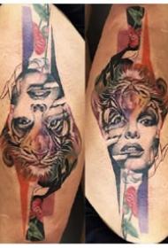 創意紋身 正著看和倒著看的一組紋身圖案