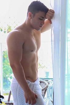 欧美清新男生帅哥性感浴巾写真照片