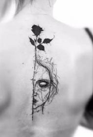 黑玫瑰纹身 9款小清新的黑色玫瑰花纹身图案