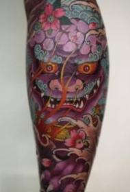 傳統6款小腿唐獅紋身圖案-越南紋身師Jun Teppei作品