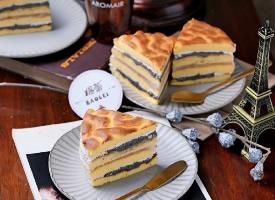虎皮蛋糕搭配黑芝麻和拉絲麻薯非一般好吃