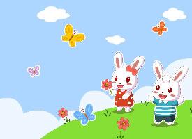 一組萌萌的兔小貝高清壁紙圖片