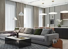 68平现代风公寓装修效果图欣赏