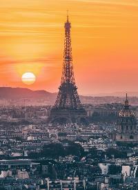 黄昏时候的巴黎美呆了