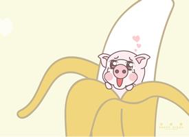 一组可爱粉粉的小恭猪高清壁纸