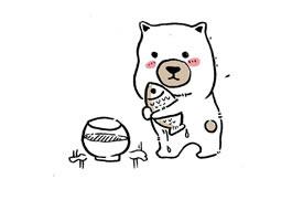 創意小熊手繪卡通圖片手機壁紙