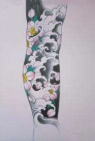 一組紋身浪花花臂和花腿作品