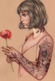 素描插畫紋身女郎-西班牙藝術家Elena Pancorbo作品