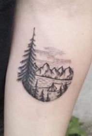 山水纹身 9款小清新写意山水纹身图案