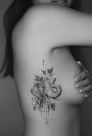 大象刺青 9款小清新素描速寫風的大象紋身圖片