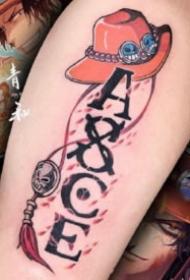 13張小腿等部位的海賊王路飛索隆艾斯紋身圖案