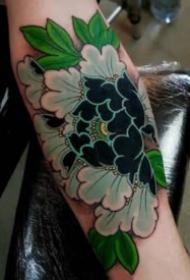 傳統的9款彩色蓮花牡丹等花卉紋身圖案