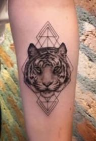 11款男生女生都適合紋的寫實老虎頭紋身圖片