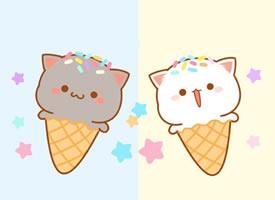 一組超可愛乖巧的卡通小貓壁紙