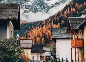 奧地利哈爾施塔特小鎮的秋天