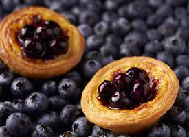 美味的藍莓蛋撻高清手機壁紙
