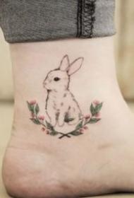 一組可愛的小兔子紋身圖案欣賞
