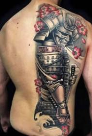 四款传统的男性半背纹身作品图案