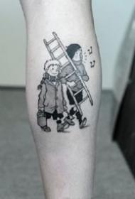 一组情侣,企鹅,插画风,暗黑纹身图案