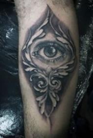 手臂黑色寫實的幾款大眼睛紋身圖