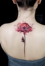 唯美女生紋身 18款唯美的彩色花朵紋身圖案