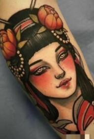 女郎包大臂纹身 9款school风格包臂纹身女郎图案