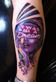 一組歐美炫彩人像寫實紋身素材欣賞
