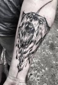 9款小臂位置的黑灰散点纹身图案