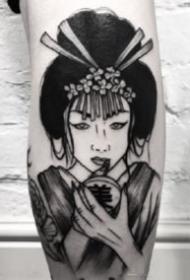 纹身艺伎图 9款黑灰色的日本艺妓纹身作品图案