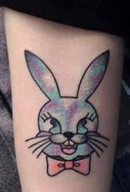 一組可愛的水彩小兔子紋身圖案欣賞