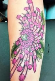 菊花刺青 9款传统风格的各部位菊花纹身图案