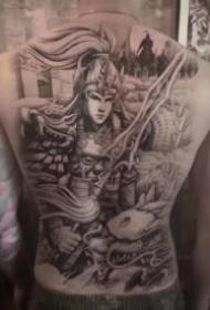 傳統人物等風格的的12款大滿背紋身圖案