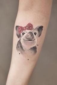 一偶組彩色可愛的手臂紋身圖案欣賞