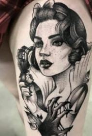 暗黑女士风格的大腿等女郎纹身作品
