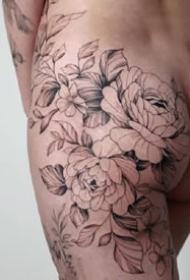 一組女生小清新花朵紋身圖案欣賞