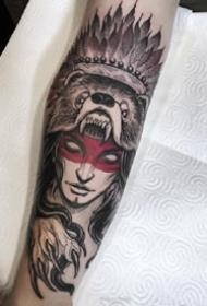 九款兇猛的野獸圖案歐美花臂紋身
