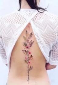 男女都適合的后背脊柱小清新紋身圖片