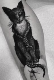 暗黑風格的9款貓紋身圖案作品