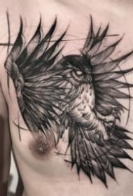 胸部老鹰纹身 6款黑色的胸部飞鹰纹身图案