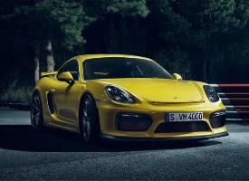 黃色保時捷Cayman GT4跑車圖片欣賞