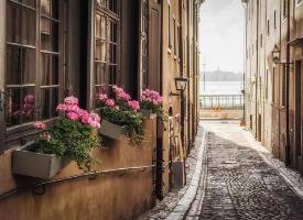 瑞典斯德哥尔摩 ,蓝天白云,晴空万里