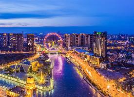 天津海河絕美夜景圖片