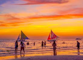 菲律賓長灘島晚霞風景壁紙