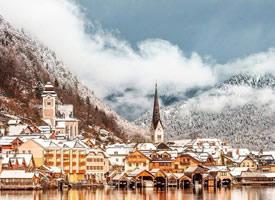 奧地利小鎮唯美雪景桌面壁紙