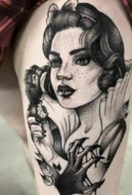 暗黑女頭像 適合手臂大小腿的女郎頭像紋身圖案