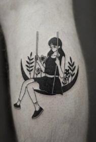 黑白色月亮和小清新女郎的一組創意紋身小圖