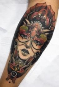 大臂女郎纹身 包大臂的9款school女郎纹身图片