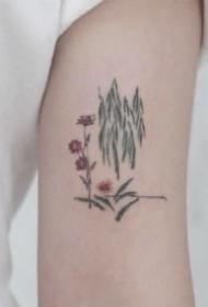 素雅簡約適合女生的胳膊上花草線條小紋身